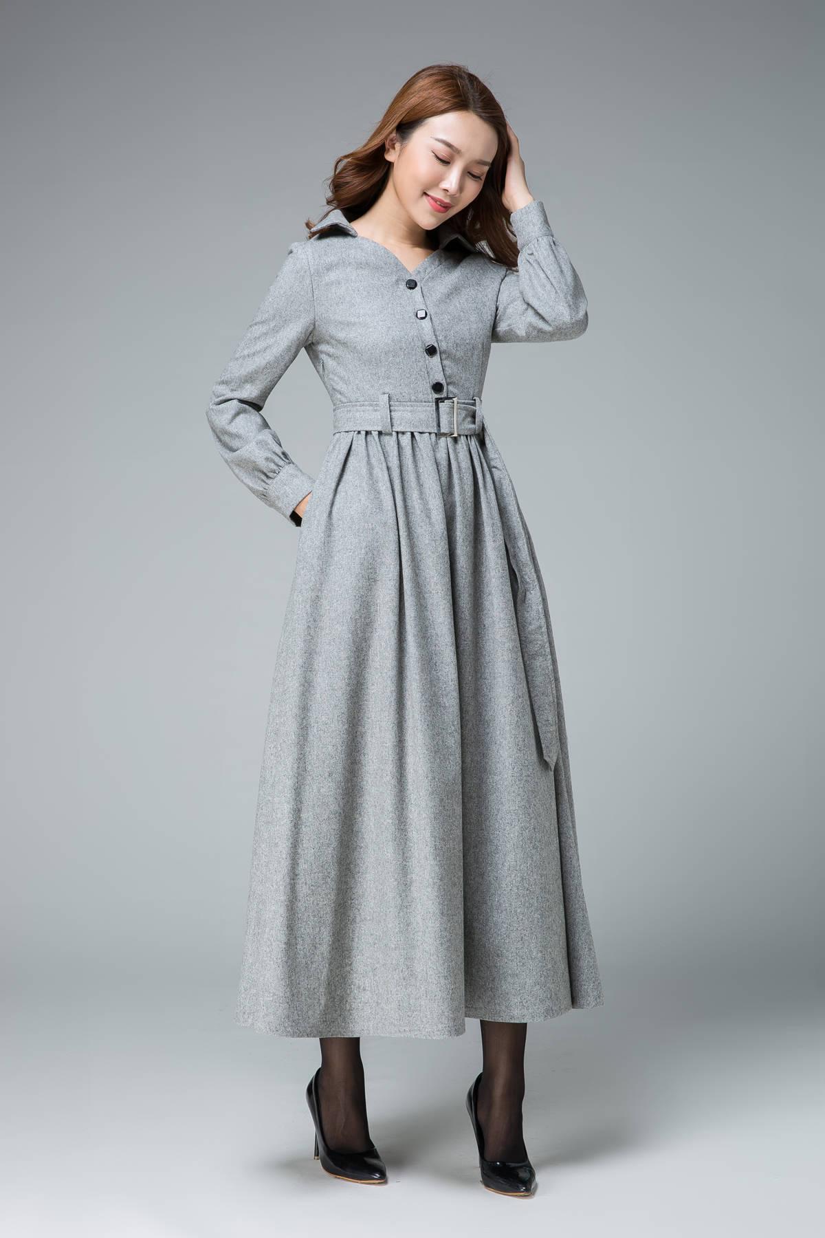 Shirt Dress Wool Dress Winter Dress Maxi Dress Pleated Etsy
