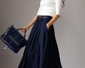 maxi skirt, linen skirt, long linen skirt, navy linen skirt, pleated skirt, full skirt, flared skirt, pocket skirt, linen womens skirt 1046