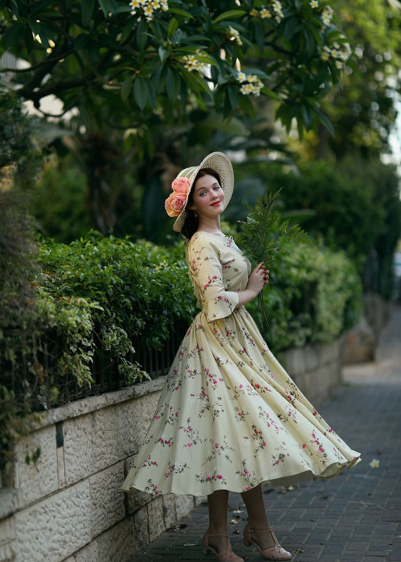 Elbow sleeves Floral Cottagecore dress Garden party dress image 0