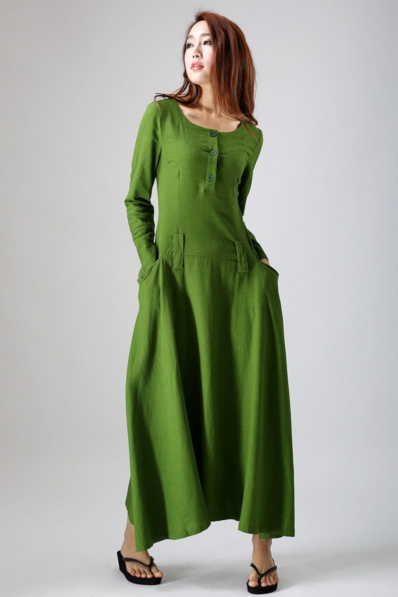 0d6e938608185 Linen dress green dress maxi dress womens dresses spring | Etsy