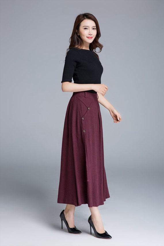 spring high with skirt skirt red skirt skirt maxi skirt waisted pleated fashion linen skirt button 1672 clothing skirt pockets skirt 8fORfvwqn