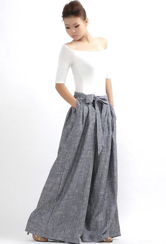 most fashionable catch uk store palazzo pants, Grey Linen pants, linen pants, wide leg pants, long linen  pants, women linen pants, summer pants, loose linen pant 0308#