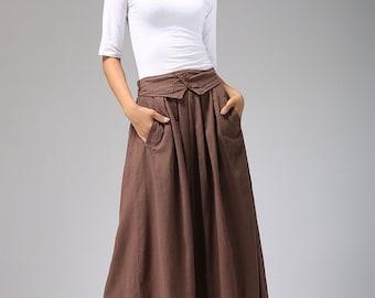 Brown Linen skirt, A line skirt, linen skirt, maxi skirt, long linen skirt, womens skirts, vintage skirt, elastic waist skirt  (690)
