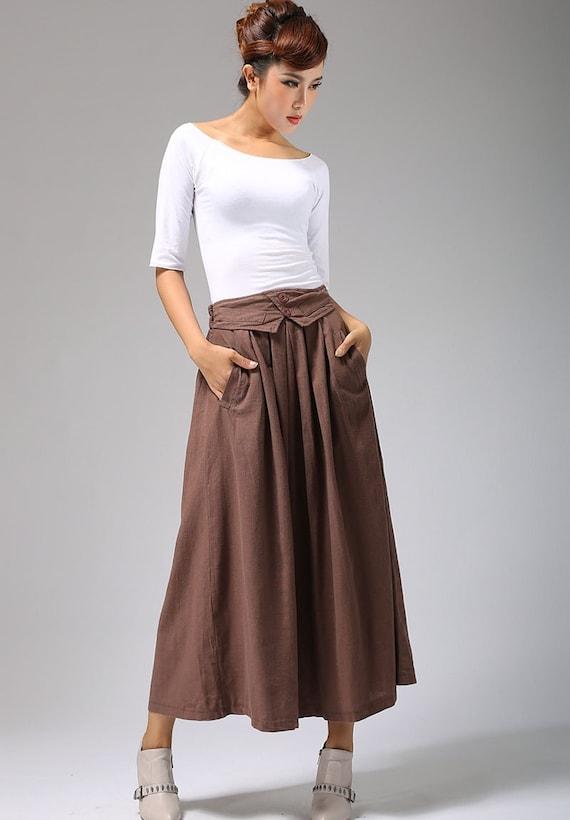 Brown Linen skirt A line skirt linen skirt maxi skirt long  677b7ad15bd9
