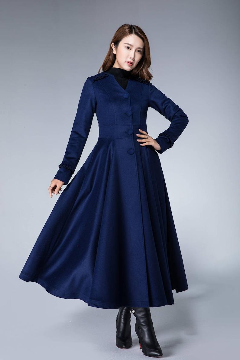 Warm wool coat dark blue coat elegant coat trench coat | Etsy