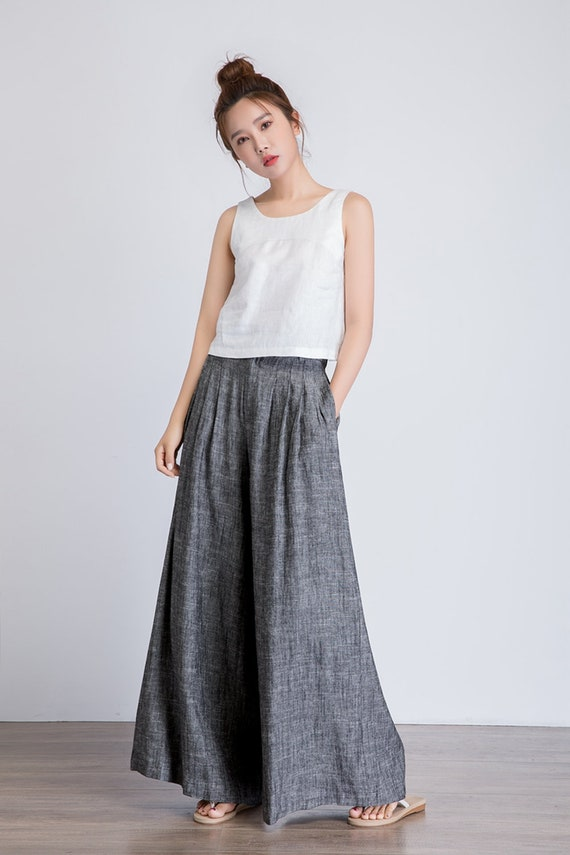 pants with palazzo linen leg pants pants pants long Linen wide linen 1938 summer pants pockets pants women pants pants Grey linen q7UtWPwF