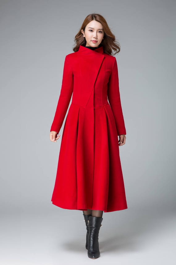 Coats For Women, Red Winter Coat, Asymmetrical Coat, Pleated Coat , Swing Coat, Boho Coat, Stylish Coat, Stand Collar, Womens Overcoat 1845# by Etsy