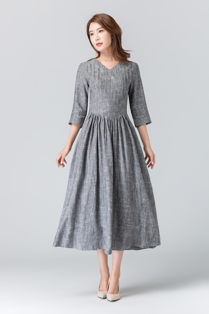 cf8cfc21154e Gray linen dress linen summer dress midi length dress | Etsy