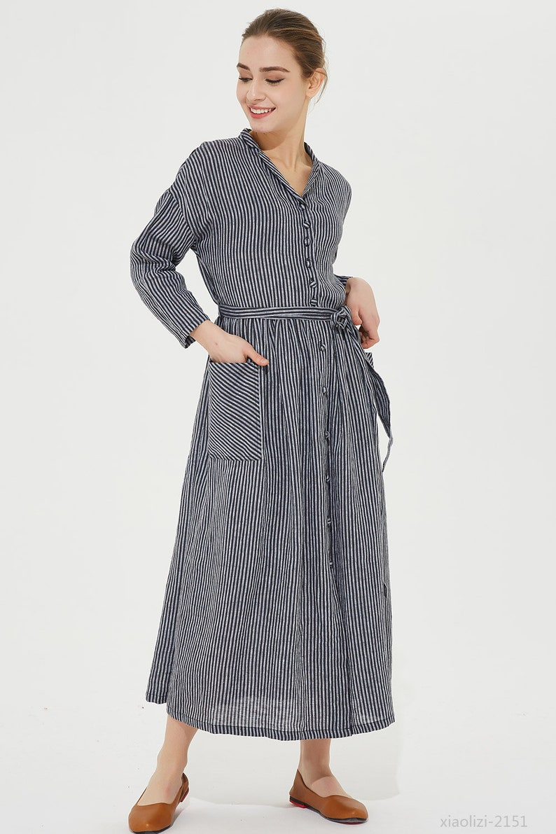d1309408a9111 Striped shirt dress long shirt dress pockets dress linen
