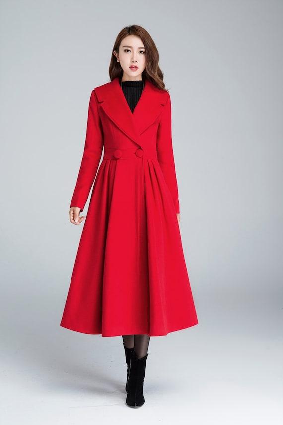 d0294bf55e5c6 Princess coat long jacket red coat pleated coat elegant