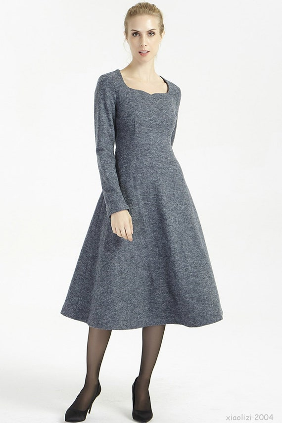 11e42910efa9 Gray wool dress winter dress women dress wool dress long