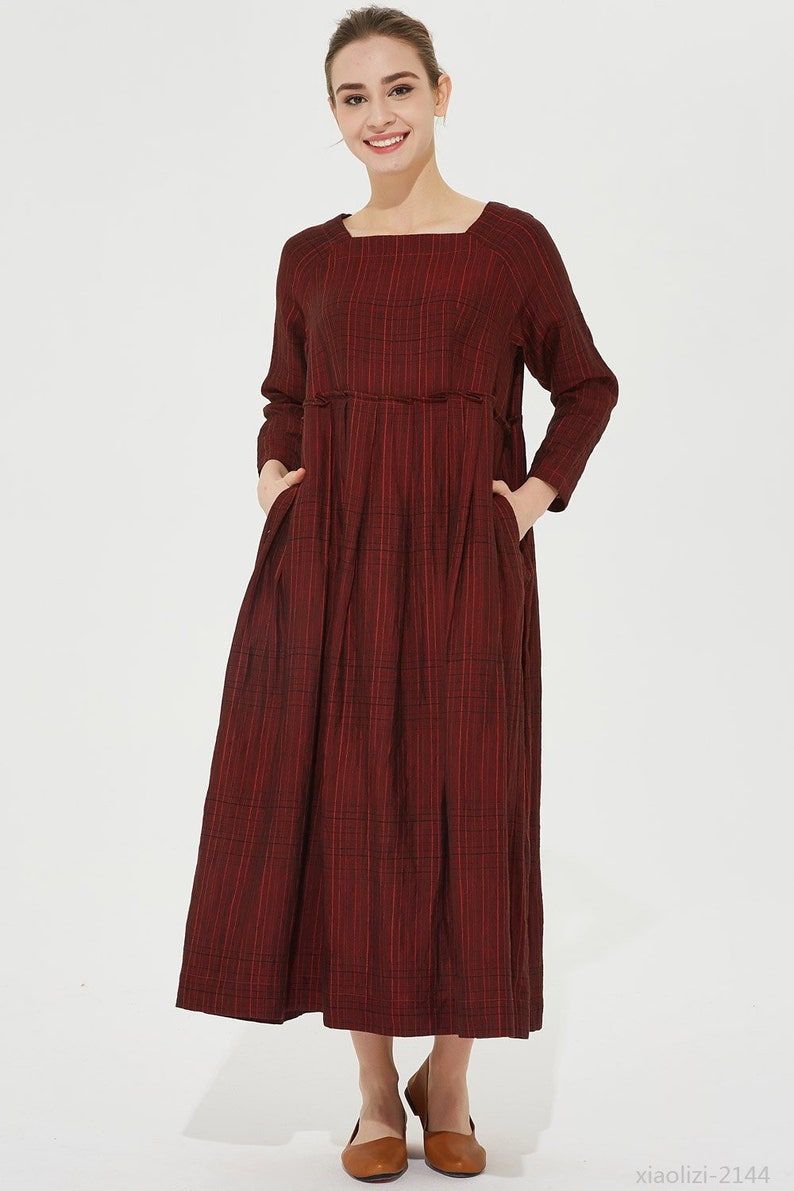 92371e6de2e9 Dark red linen dress loose fitting dress shift dress summer
