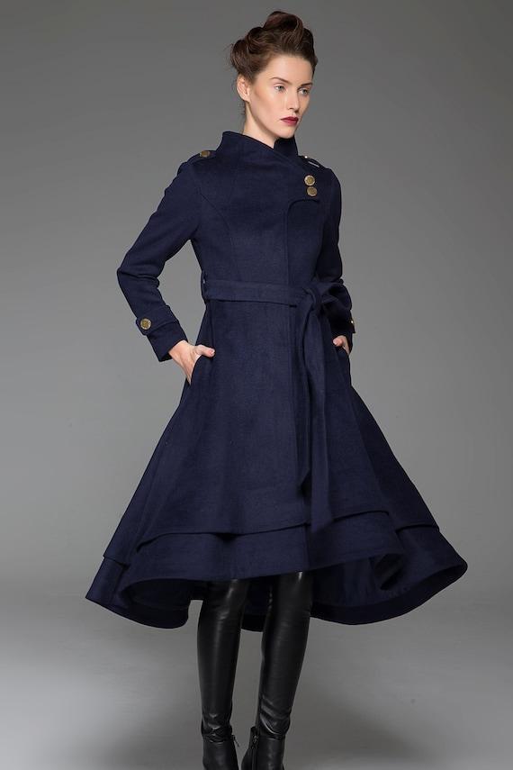 navy blue coat stand up collar long coat womens coats cute etsy. Black Bedroom Furniture Sets. Home Design Ideas