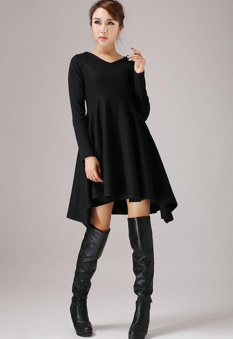 8ca56f36b935 Cocktail-Kleid, schwarzes Kleid, Party-Kleid, Damen Kleider, schwarze Wolle  Kleid, Party-Kleid, sexy Kleid, lange Ärmel Kleid 0767