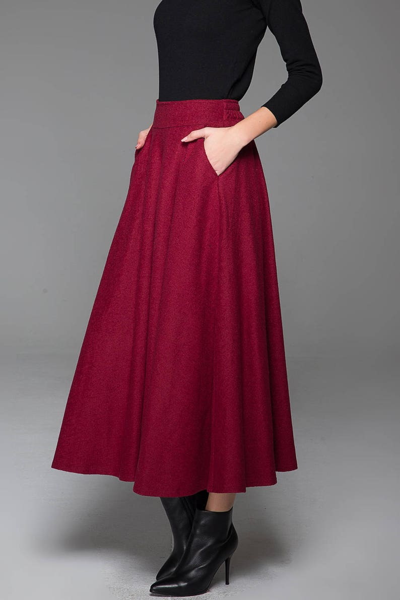 1481bb24c1f20c Wijn rode rok met wol rok klassieke rok winter rok warme