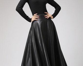 Black faux leather skirt - Classic style maxi skirt - women PU vegan flared skirt - circle skirt - designer woman's skirt - plus size 0719#