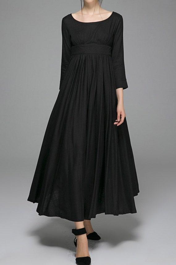 Black Linen Dress Women Dress Linen Dress Party Dress Maxi Etsy