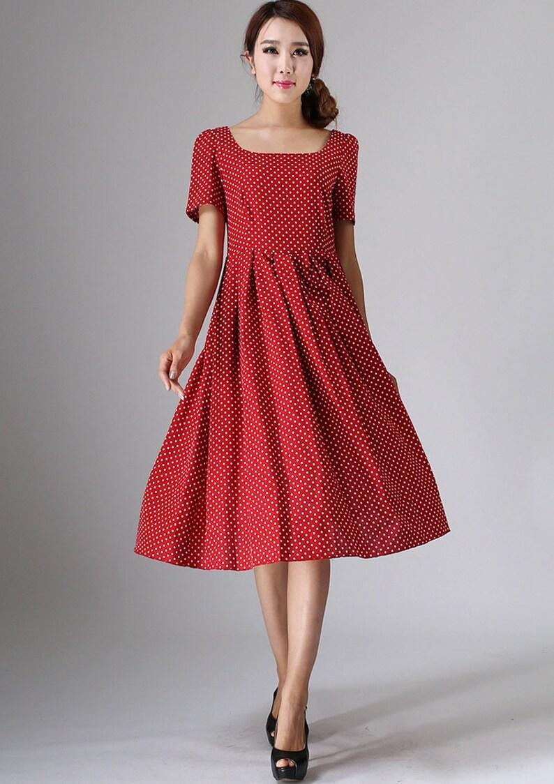red polka dot dress linen dress midi dress womens dresses image 0