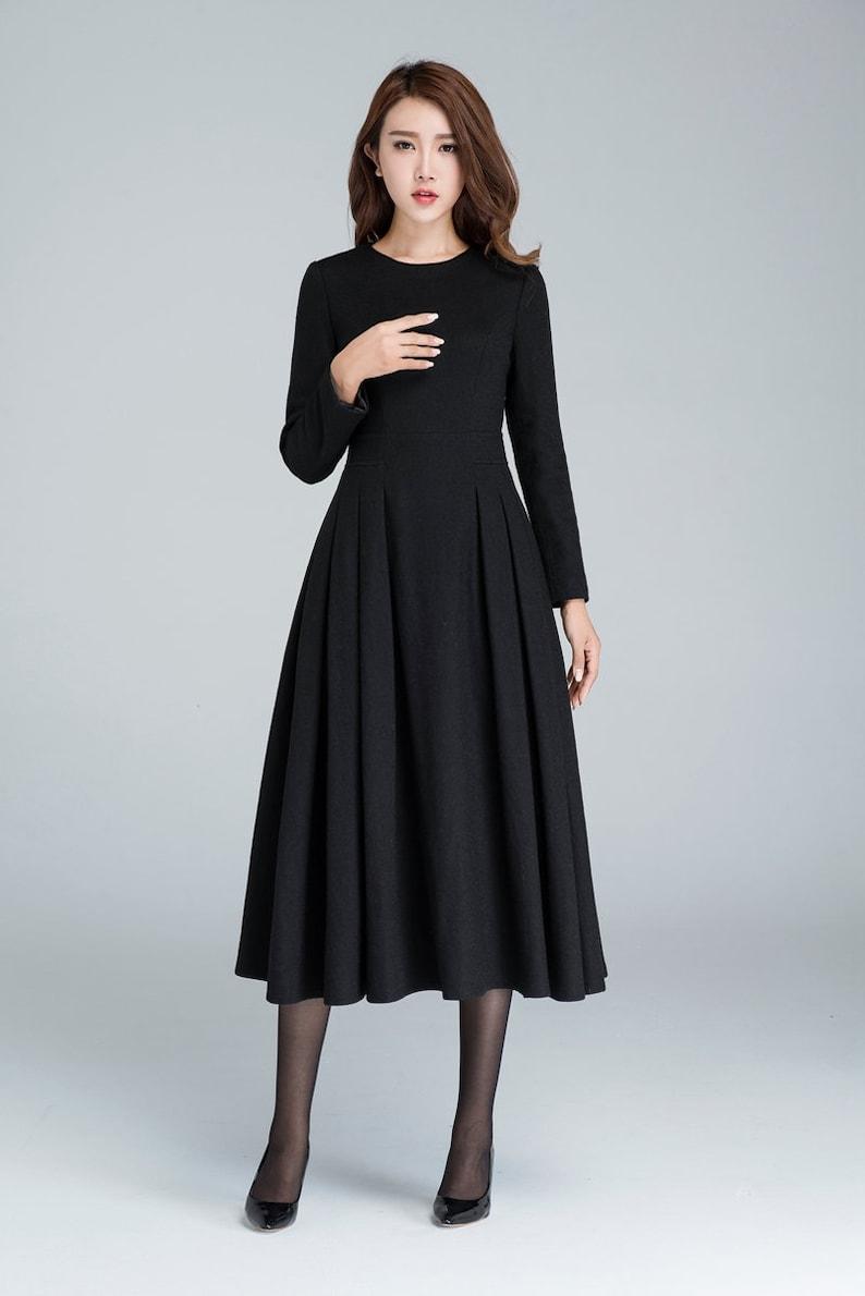 Langes schwarzes Kleid Wollkleid Winterkleid lange Frauen ...