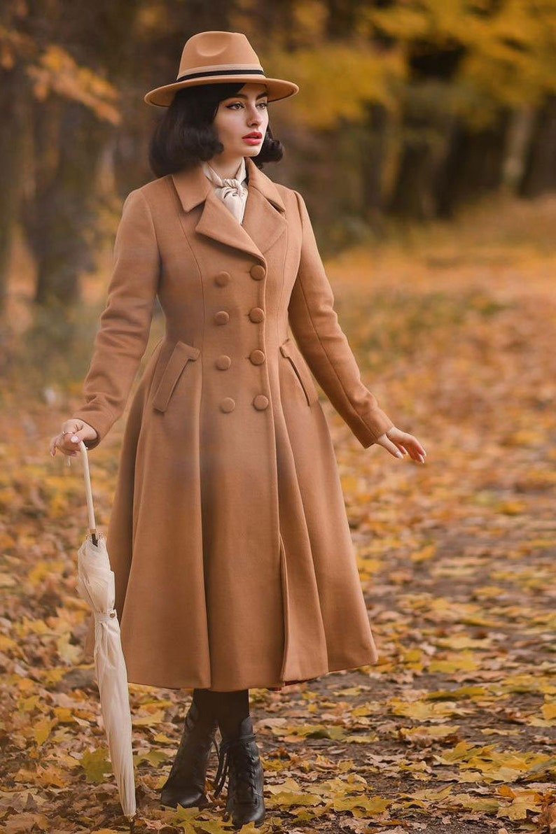 1950s Coats and Jackets History     Camel wool coat Double breasted coat Modesty wool coat Winter coat women Fashion wool coat Autumn winter coat Custom made coat 2496#  AT vintagedancer.com