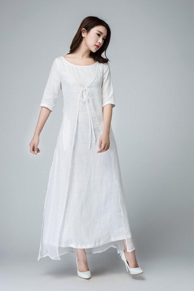 3b48b6777088 White linen dress linen dress linen wrap dress womens