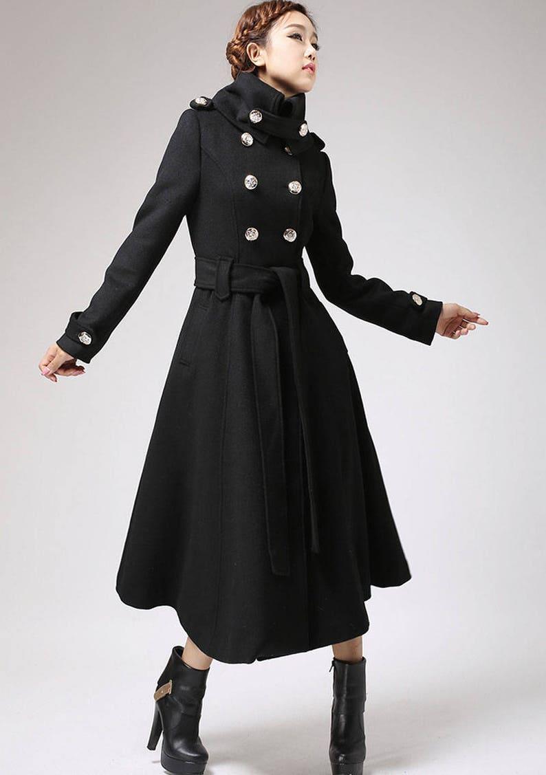 80c7d77504 Long black coat Trench coat military coat long coat black   Etsy