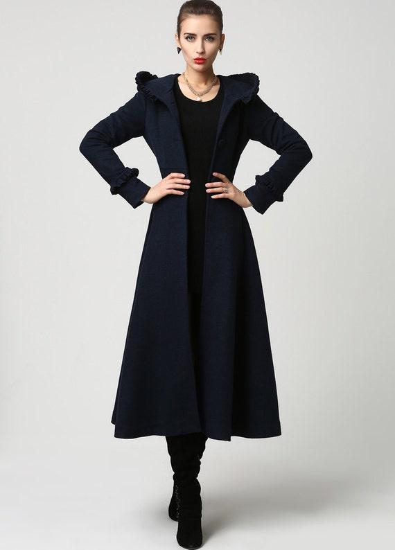 Womens Wool Navy 1102 made Custom Coat long Coat Blue plus wool coats long mod clothing clothing Coat size Hooded jacket coat coat I1xwqEx0