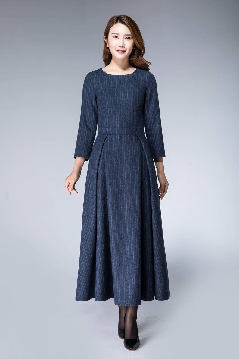 db473b980c9 Chaud robe robe de Noël robe rayée robe en laine robe
