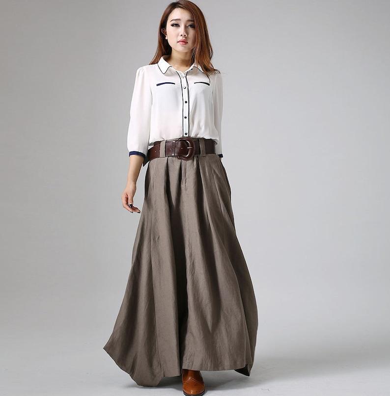 7f23486b5a87 Long linen skirt maxi skirt for women brown skirt pleated | Etsy