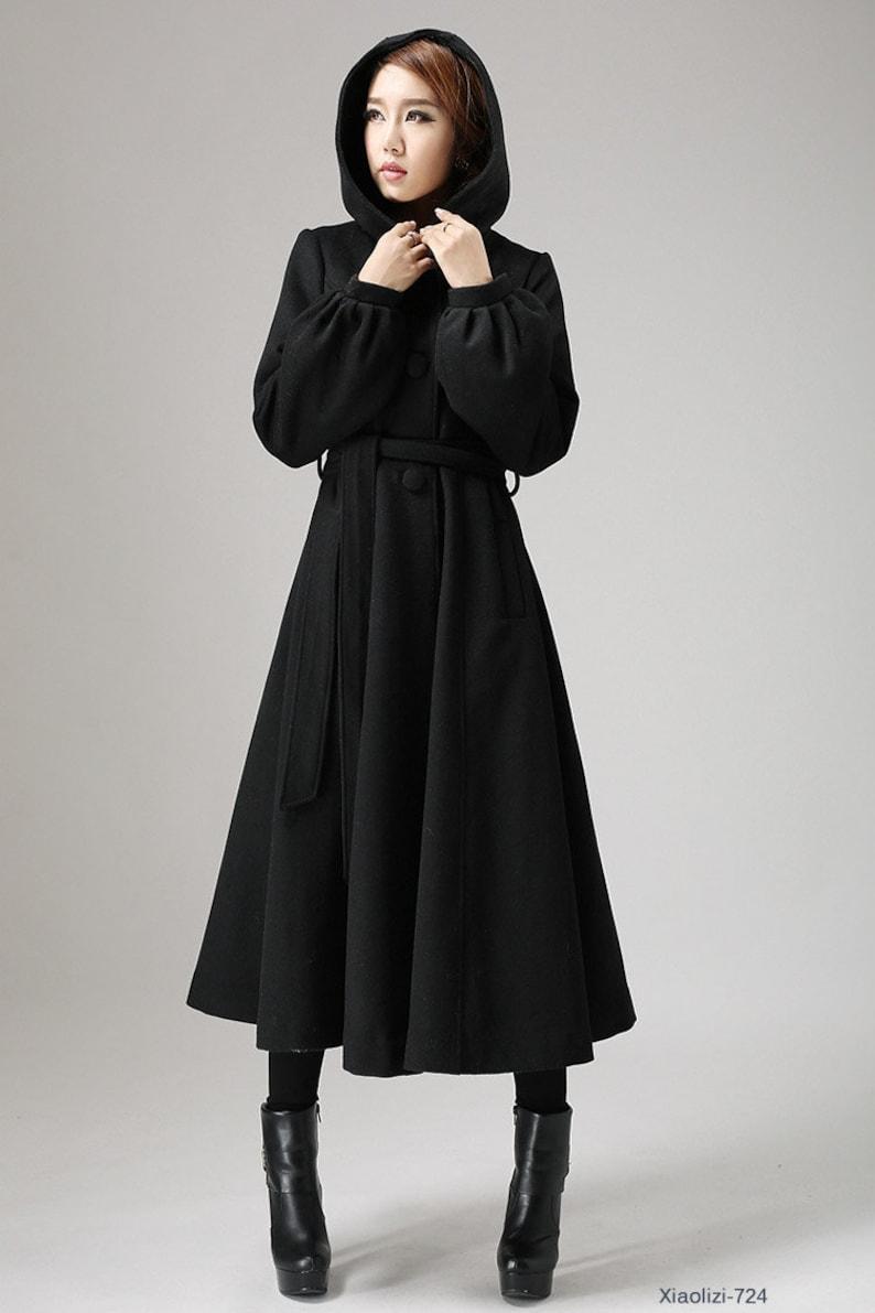 best sneakers cea94 935f2 Cappotto di lana nera, cappotto lungo, cappotti da donna, cappotto, swing  coat, cappotto con cappuccio, maxi cappotto, abbigliamento invernale,  regalo ...