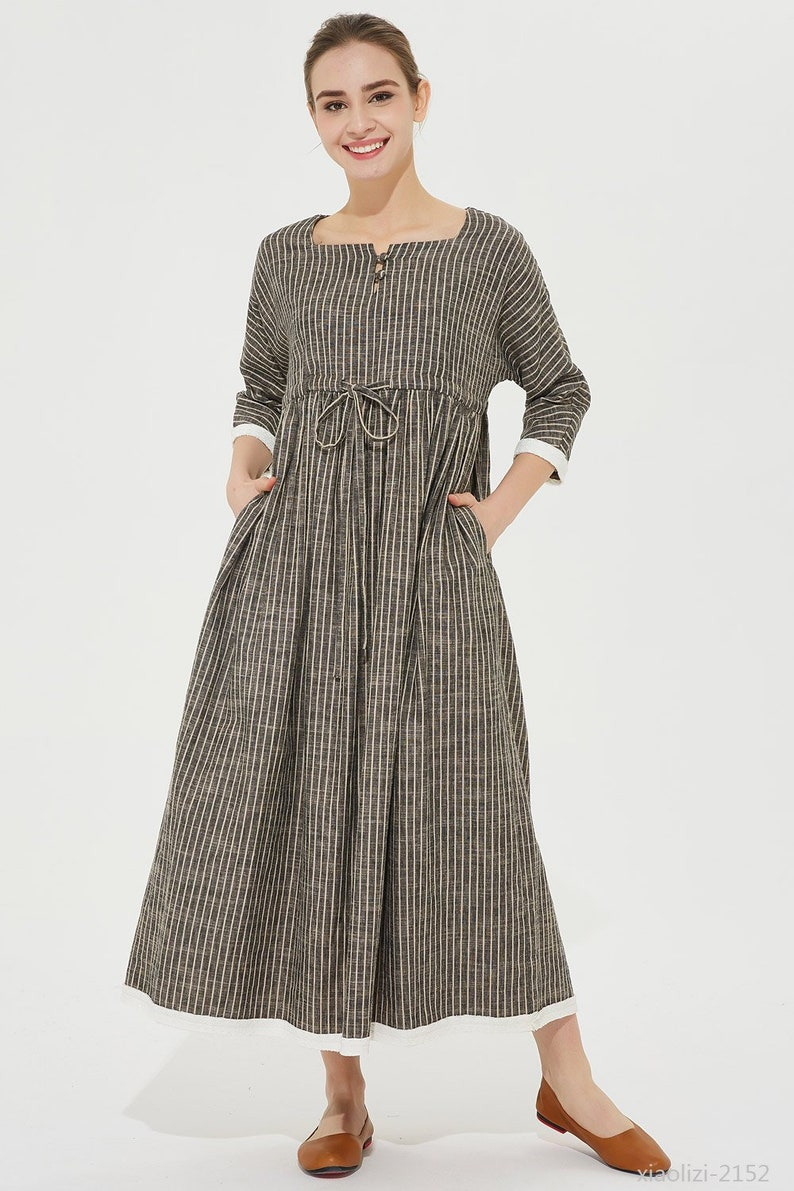 f9a167ec356 Striped linen dress drawstring waist dress long linen dress