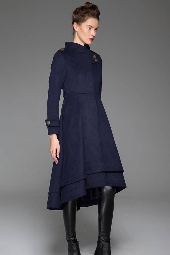 blu di cappotto cappotto Cappotto Etsy di lana navy lana aqdABw