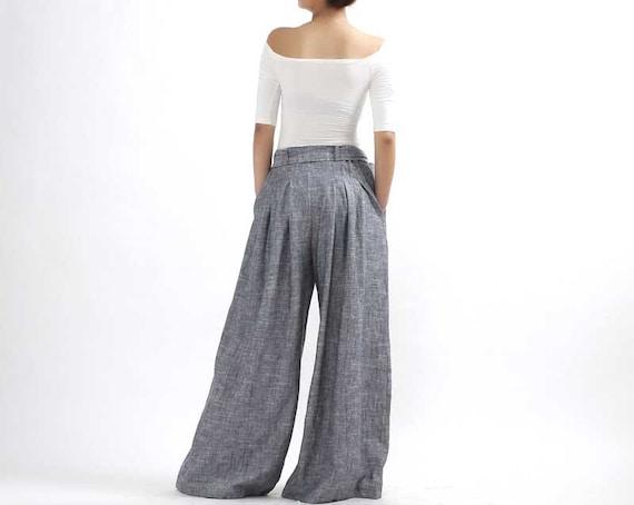 wide leg pant tie belt pant 2 piece set pant 2-0308 maxi linen pant summer pant women linen pant linen palazzo pants Grey linen pants