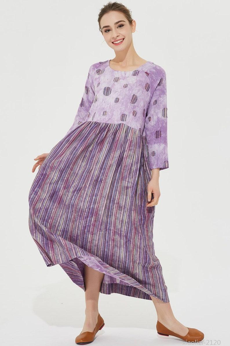 bbe04591da99 Purple linen dress long linen dress block color dress maxi