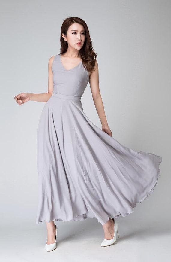 grau brautjungfernkleid chiffon-Kleid Damen Kleider   Etsy 1ecf26cd78