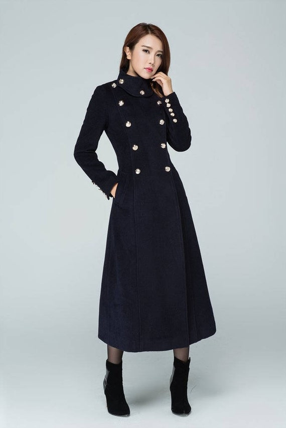 Long Navy wool coat, Vintage wool Military Style Double Breasted long Winter Trench Coat, womens coat with stand up collar 1596#
