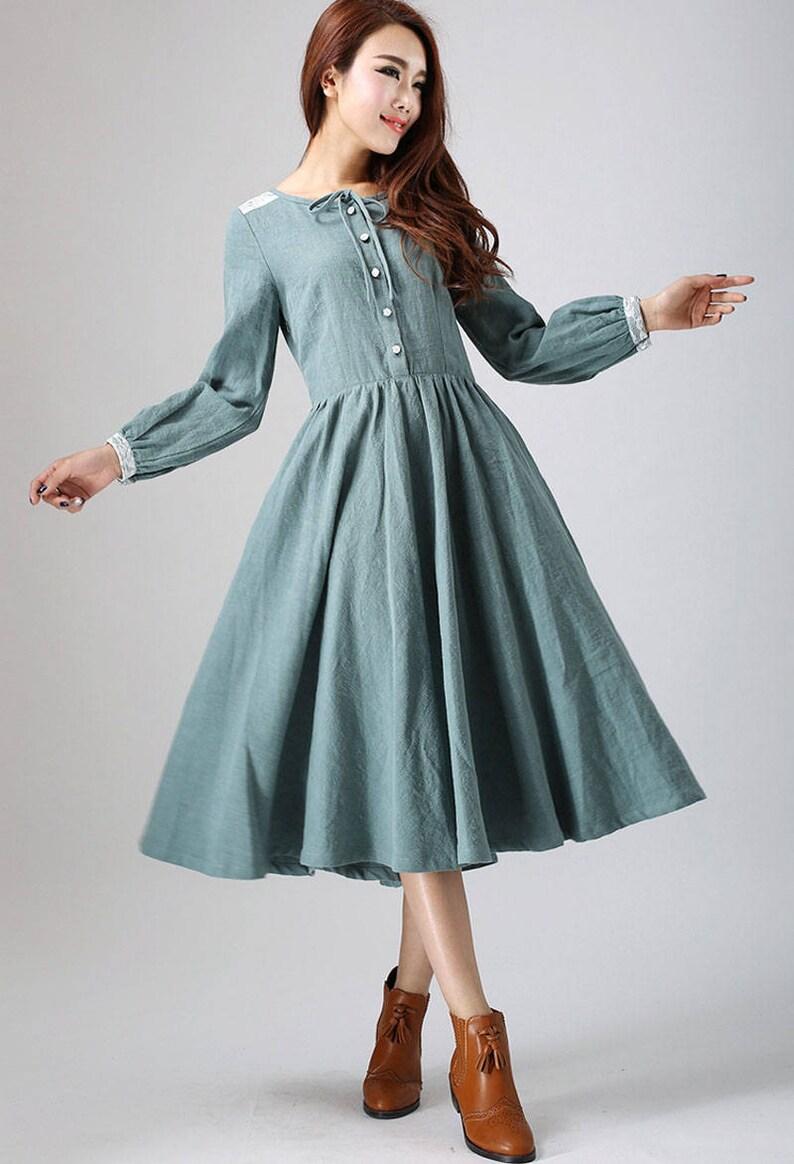 975f5d73e7c Charming dress linen dress midi dress with lace detail on