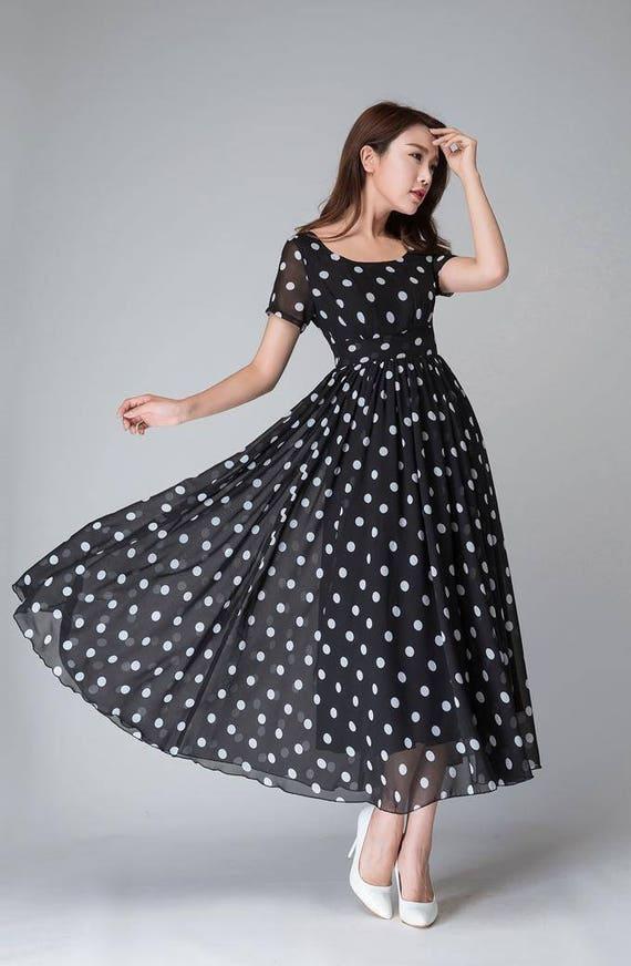 Polka Dot Dress Black And White Dress Empire Waist Dress Etsy