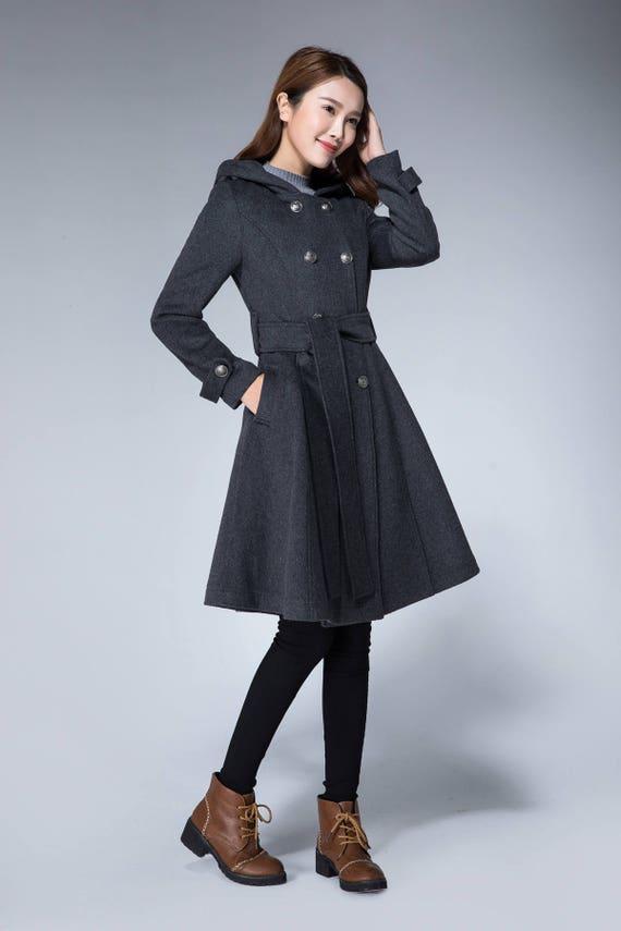 cc0394a7b2f4 Mantel Jacke grauer wolle Mantel Wintermantel Zweireiher   Etsy