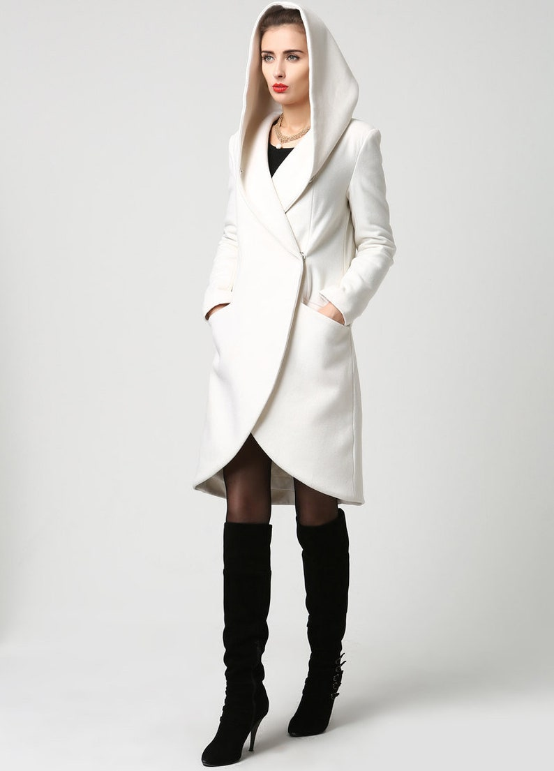 wrap coat white coat hooded coat winter coat wool coat rice white-1119