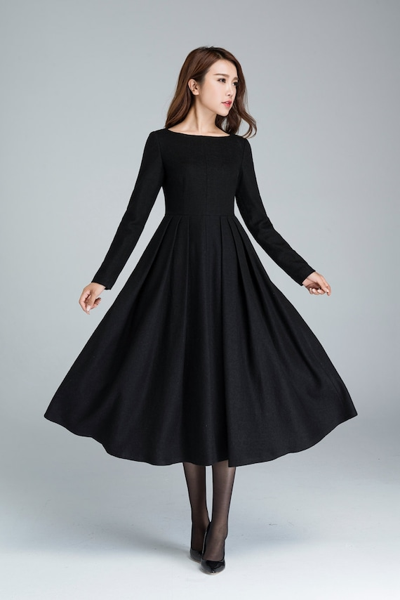 Black Wool Dress Pleated Dress Winter Dress Midi Dress Etsy