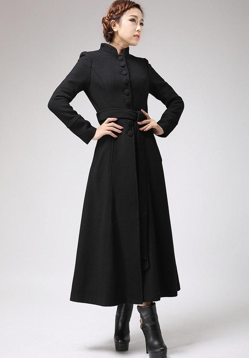 0f820f8f8930 Nero cappotto cappotto vestito collo alla coreana cappotto