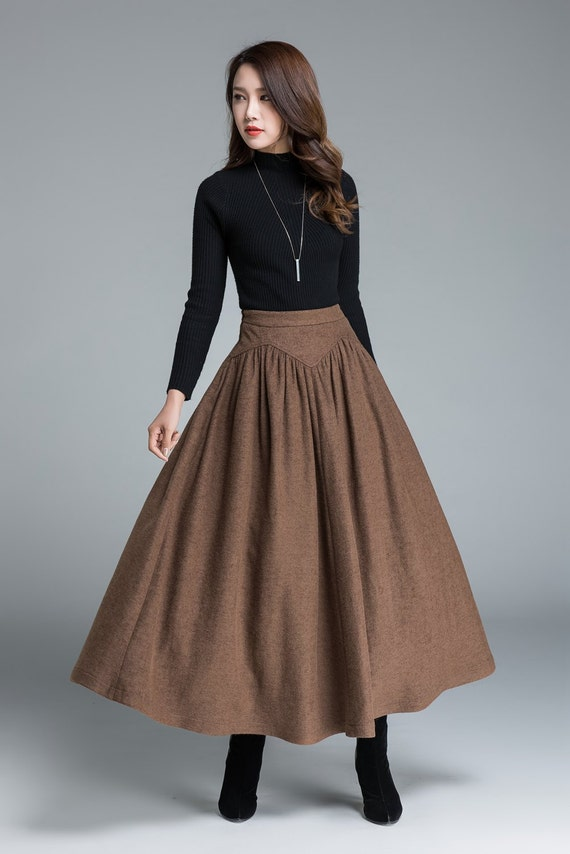 wool skirt brown skirt long skirt women skirt vintage  etsy