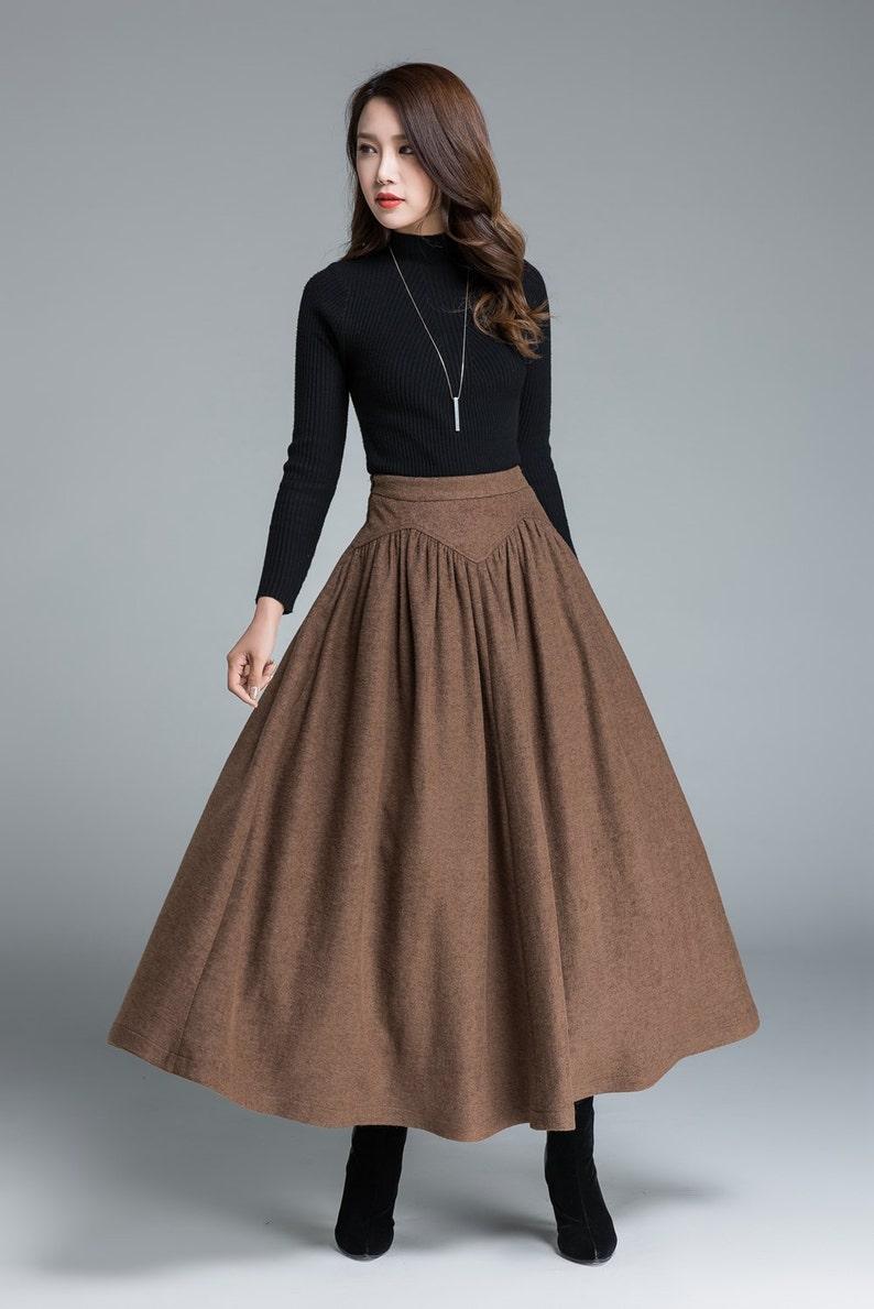 ba53bf3beb6357 Wollen rok bruin rok lange rok rok voor vrouwen vintage