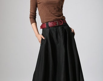 Black skirt, linen skirt, maxi skirt, womens skirt, summer skirt, long linen skirt, spring skirt, fitted waist skirt, pockets skirt  0902#