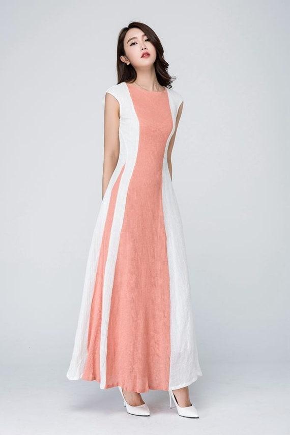 Hochzeit Gast Leinen Kleid Maxi Kleid Modernes Kleid Block Etsy
