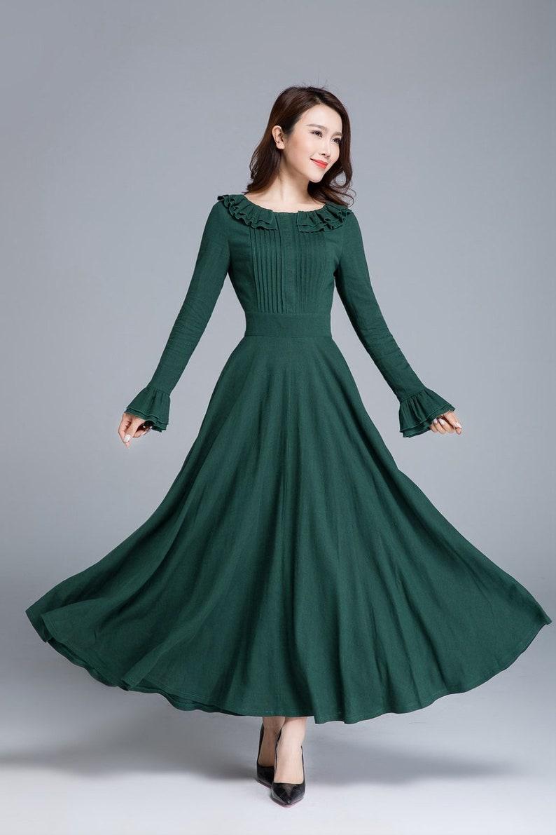 green linen dress long sleeve dress maxi dress spring image 0