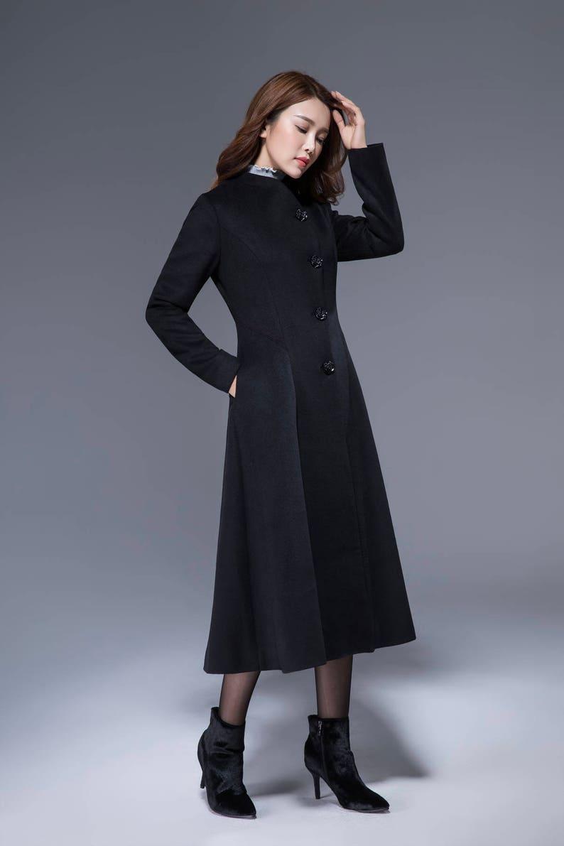 d3aa8739b506 Black winter coat long wool coat midi coat warm jacket