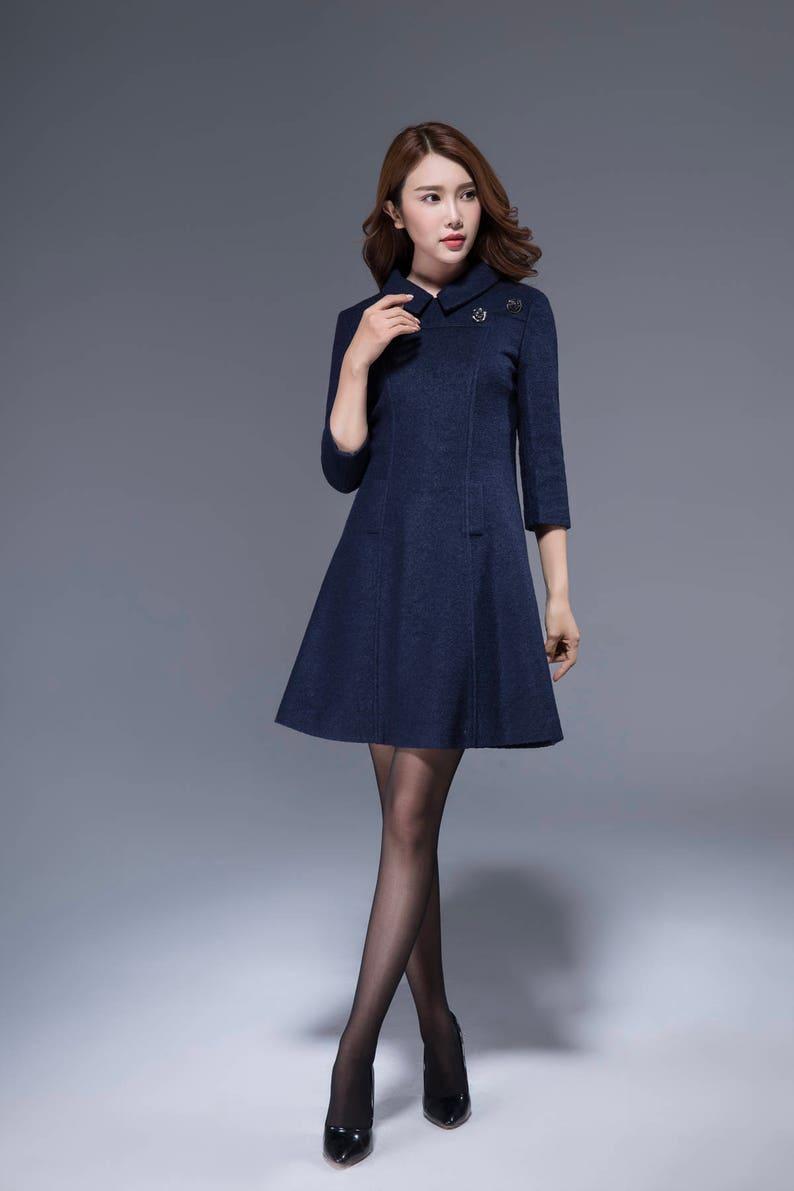 0d3b4e8d4c Navy wool dress mini dress collar dress fitted dress