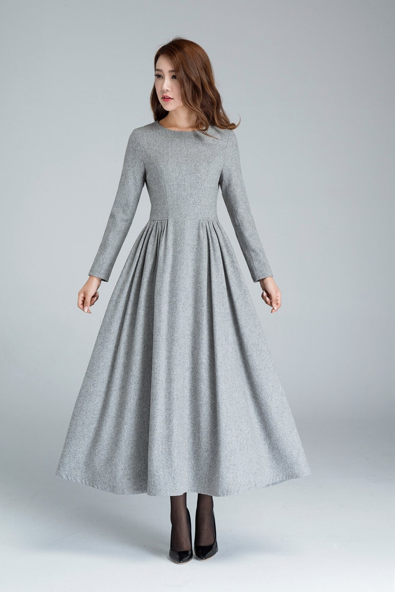 aad055d433dd Grey wool dress pleated dress long dress womens dresses